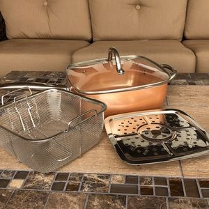 Copper Deep Frying Pan with Steamer and Basket